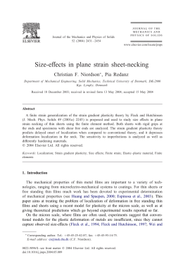 Size-e&ects in plane strain sheet-necking Christian F. Niordson , Pia Redanz ∗