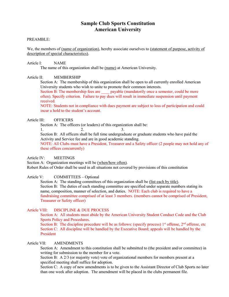 Sample Club Sports Constitution American University