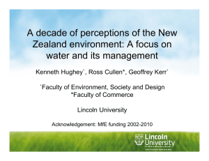 A decade of perceptions of the New water and its management