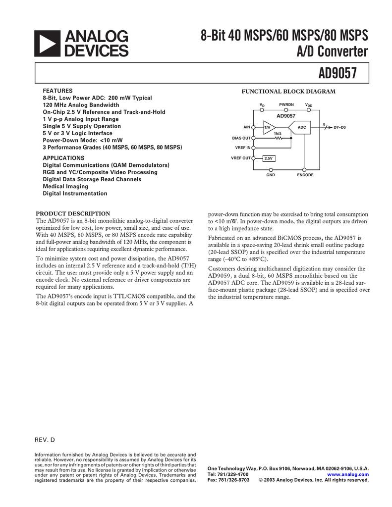 a 8-Bit 40 MSPS/60 MSPS/80 MSPS A/D Converter AD9057