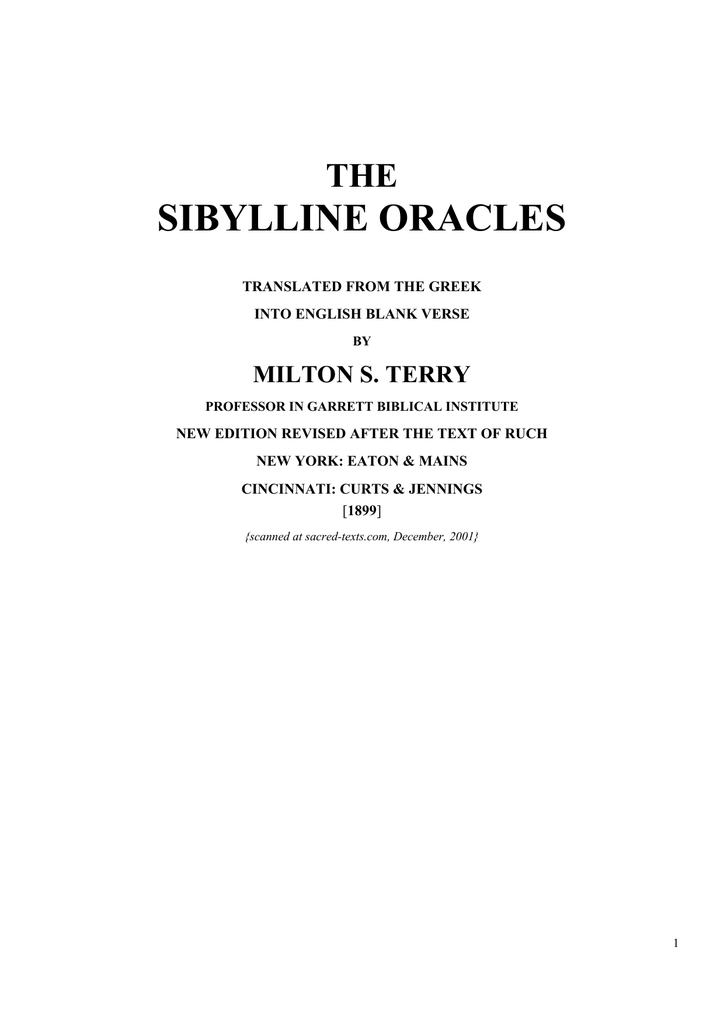 wiele kolorów świeże style przed Sprzedaż SIBYLLINE ORACLES THE MILTON S. TERRY