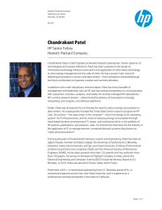 Chandrakant Patel HP Senior Fellow Hewlett-Packard Company