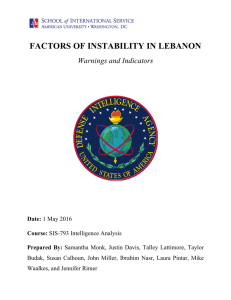 FACTORS OF INSTABILITY IN LEBANON  Warnings and Indicators