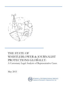THE STATE OF WHISTLEBLOWER & JOURNALIST PROTECTIONS GLOBALLY: