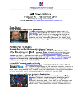 AU Newsmakers Top Story – February 24, 2012 February 17