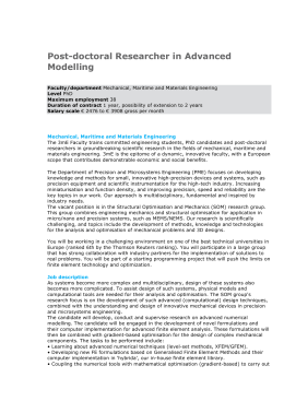 Post-doctoral Researcher in Advanced Modelling