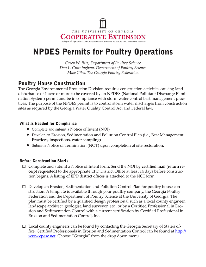 NPDES Permits for Poultry Operations