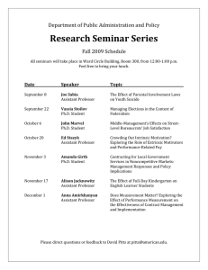 Research Seminar Series  Department of Public Administration and Policy Fall 2009 Schedule