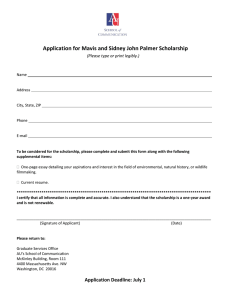 Application for Mavis and Sidney John Palmer Scholarship
