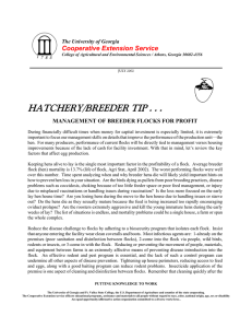 HATCHERY/BREEDER TIP . . . Cooperative Extension Service The University of Georgia