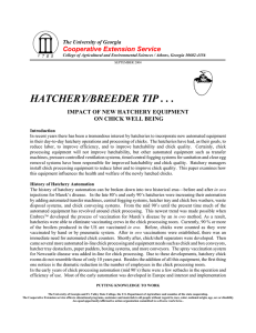 HATCHERY/BREEDER TIP . . . Cooperative Extension Service ON CHICK WELL BEING