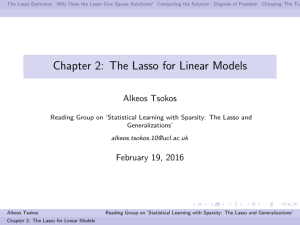 Chapter 2: The Lasso for Linear Models Alkeos Tsokos