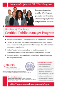New and Updated NJ CPM Program