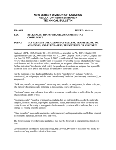 NEW JERSEY DIVISION OF TAXATION TECHNICAL BULLETIN