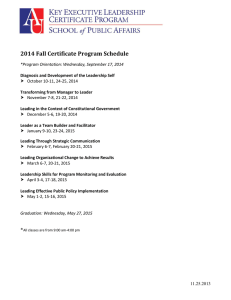 2014 Fall Certificate Program Schedule