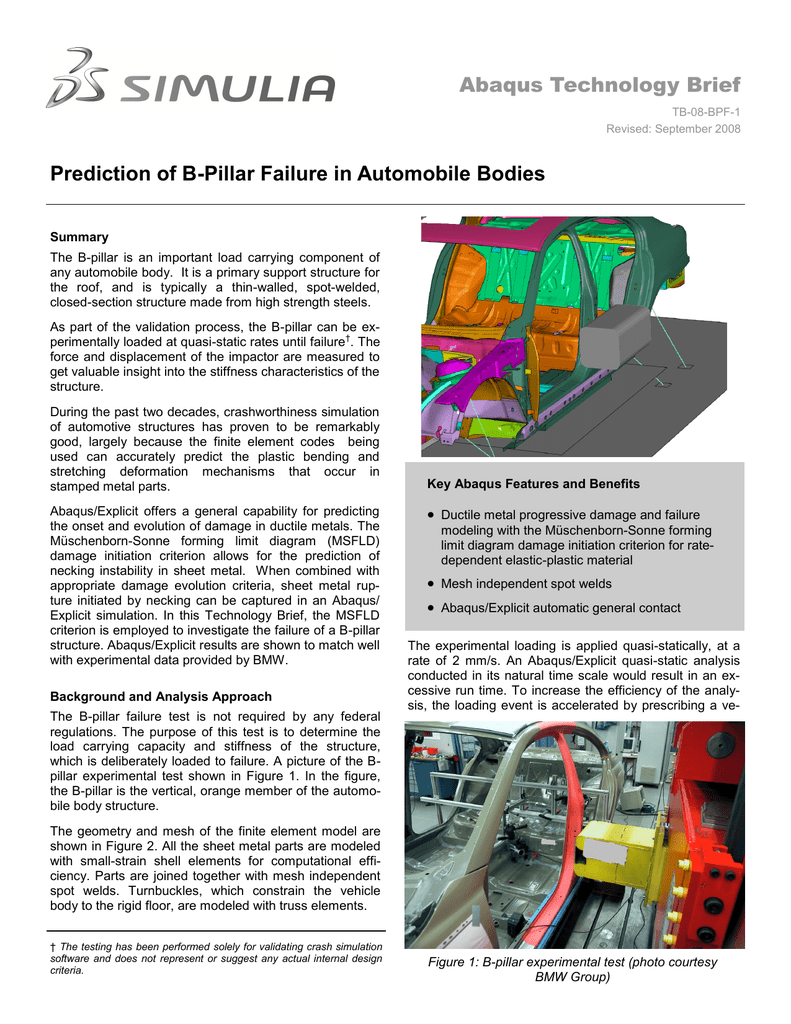 Abaqus Technology Brief Prediction of B-Pillar Failure in Automobile ...