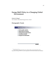 Energy R&D Policy in a Changing Global Environment Demographic Trends
