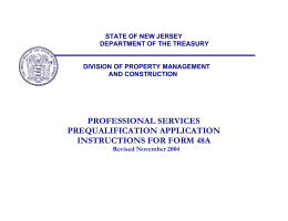 PROFESSIONAL SERVICES PREQUALIFICATION APPLICATION INSTRUCTIONS FOR FORM 48A