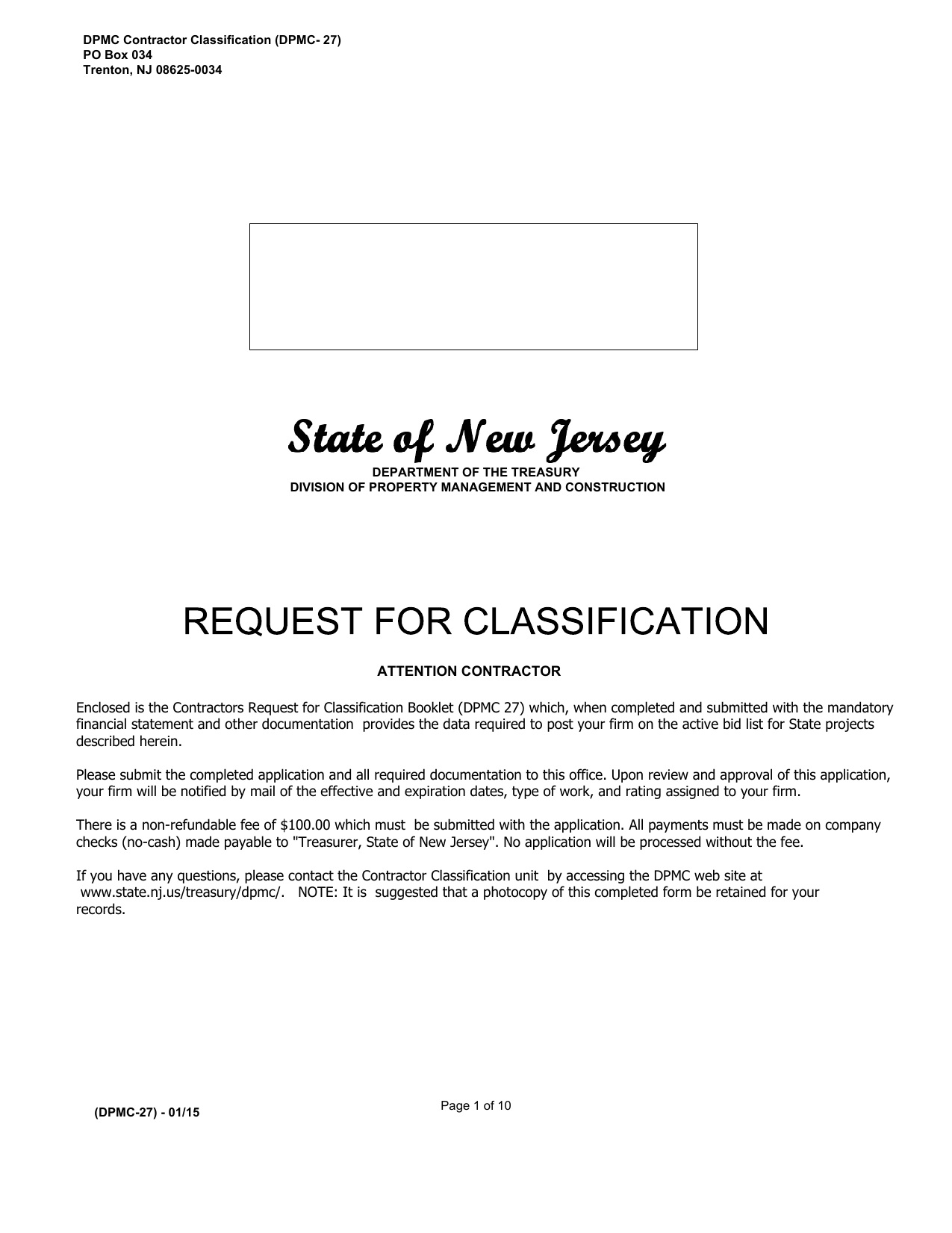 Dpmc Contractor Classification Dpmc 27 Po Box 034 Trenton