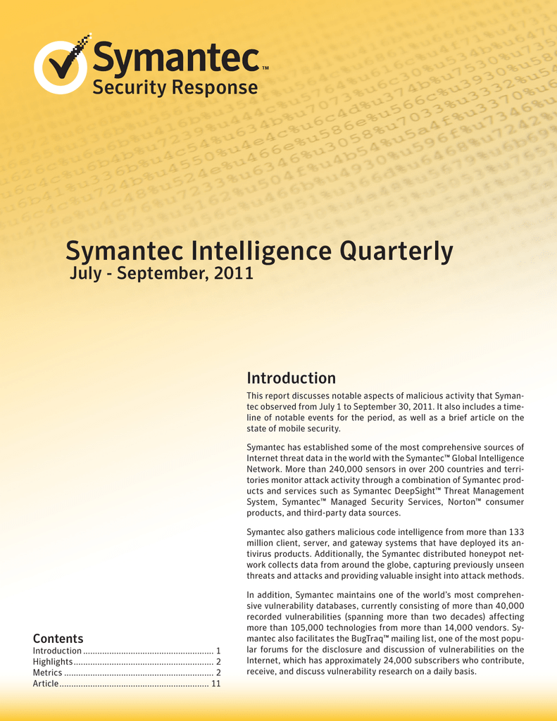 Symantec Intelligence Quarterly Security Response July