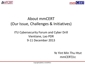About mmCERT (Our Issue, Challenges & Initiatives)
