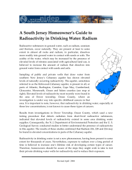 A South Jersey Homeowner's Guide to Radioactivity in Drinking Water: Radium