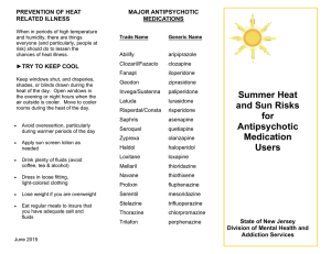 MAJOR ANTIPSYCHOTIC PREVENTION OF HEAT MEDICATIONS RELATED ILLNESS