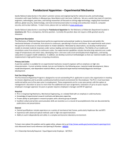 Postdoctoral Appointee – Experimental Mechanics