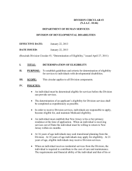 DIVISION CIRCULAR #3 (N.J.A.C. 10:46) DEPARTMENT OF HUMAN SERVICES