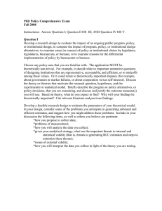 PhD Policy Comprehensive Exam Fall 2008  Question I