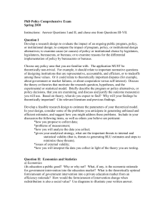 PhD Policy Comprehensive Exam Spring 2010  Question I