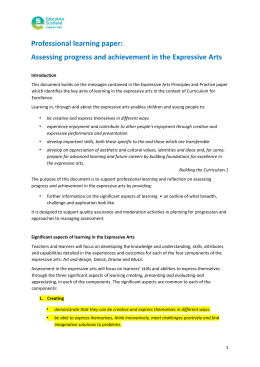Professional learning paper: Assessing progress and achievement in the Expressive Arts
