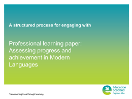 Professional learning paper: Assessing progress and achievement in Modern Languages