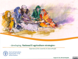 National E-agriculture strategies Experience from countries in Asia & Pacific