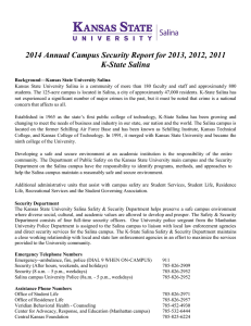 2014 Annual Campus Security Report for 2013, 2012, 2011 K-State Salina