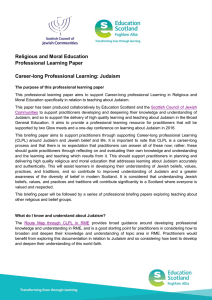 Religious and Moral Education Professional Learning Paper Career-long Professional Learning: Judaism