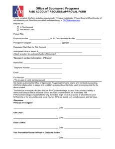 Office of Sponsored Programs RISK ACCOUNT REQUEST/APPROVAL FORM