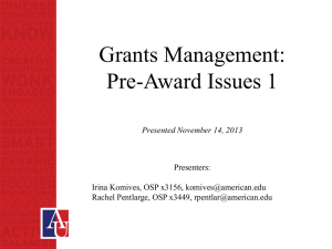 Grants Management: Pre-Award Issues 1