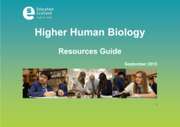 Higher Human Biology  Resources Guide September 2015