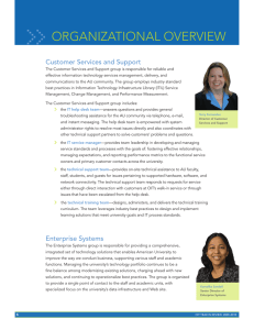 > > ORGANIZATIONAL.OVERVIEW Customer Services and Support
