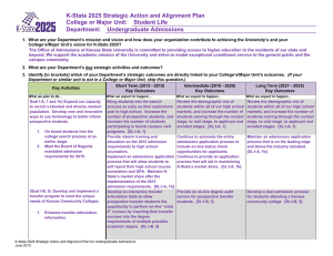 K-State 2025 Strategic Action and Alignment Plan Department:  Undergraduate Admissions