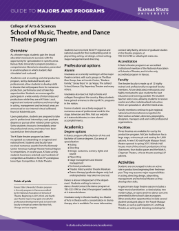 School of Music, Theatre, and Dance Theatre program MAJORS AND PROGRAMS GUIDE TO
