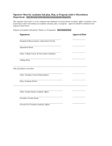 Signature Sheet for Academic Sub plan, Plan, or Program (Add... Department: