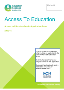 Access To Education – Application Form Access to Education Fund