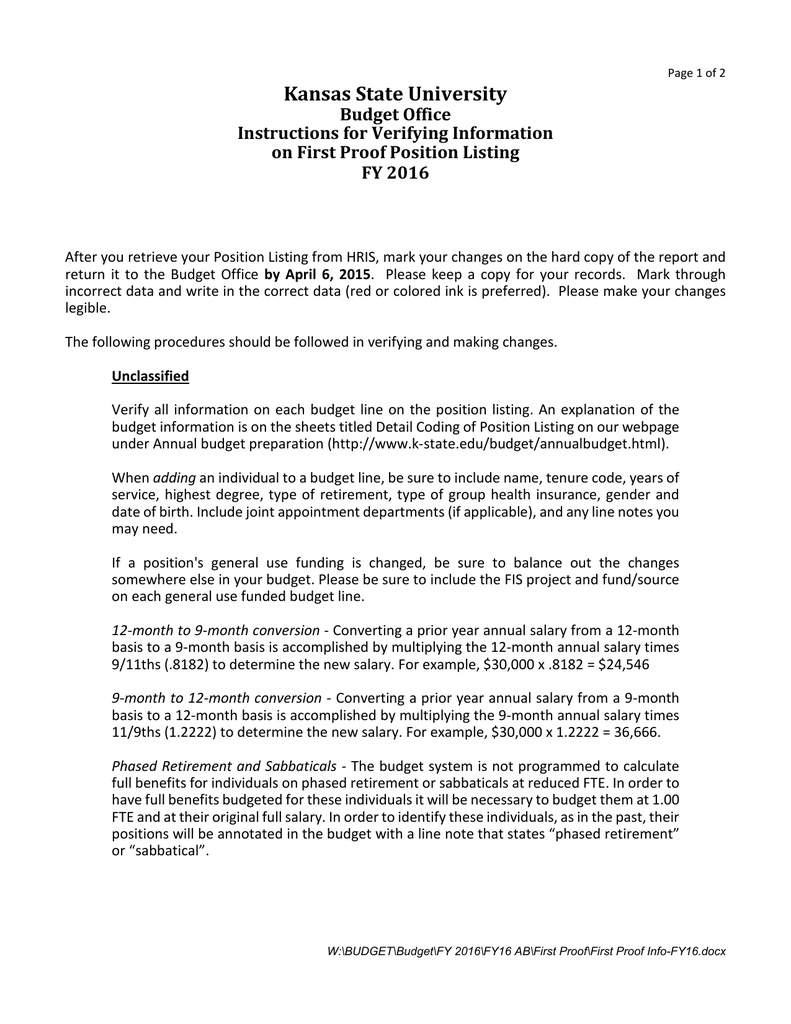 kansas state university budget office instructions for verifying