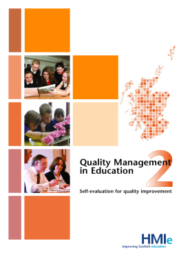 Quality Management in Education Self-evaluation for quality improvement