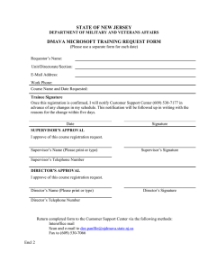 STATE OF NEW JERSEY DMAVA MICROSOFT TRAINING REQUEST FORM