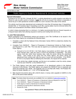 New jersey motor vehicle commission procedures for for New jersey motor vehicle commision