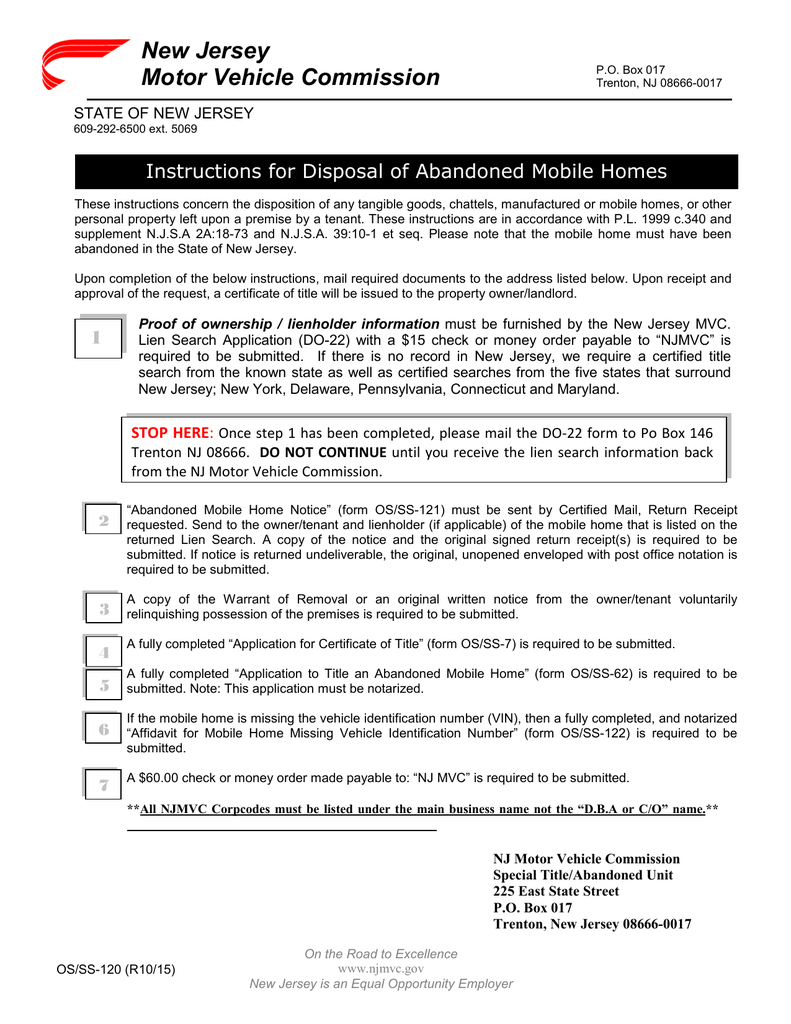 New jersey motor vehicle commission instructions for disposal of new jersey motor vehicle commission instructions for disposal of abandoned mobile homes aiddatafo Images