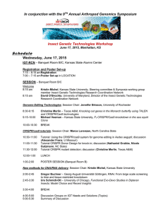 Schedule In conjunction with the 9 Annual Arthropod Genomics Symposium